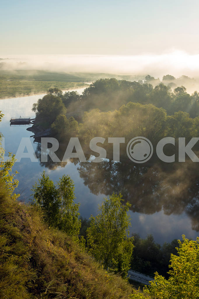 Desna River and the boat away. The village of Mezin. Chernihiv region — Image 22069