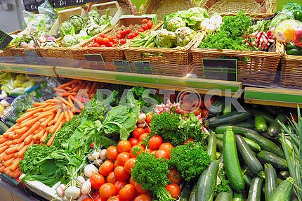 Vegetables on a market show-window