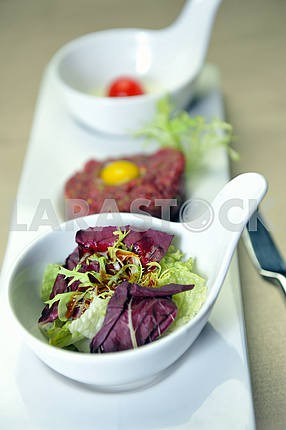 meat tartare with salad
