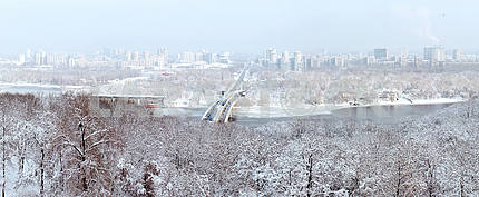 Winter panorama of Kiev and the Dnieper River