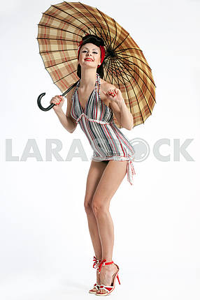 Pin-up woman  with umbrella