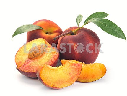 Peach and a half and leaves