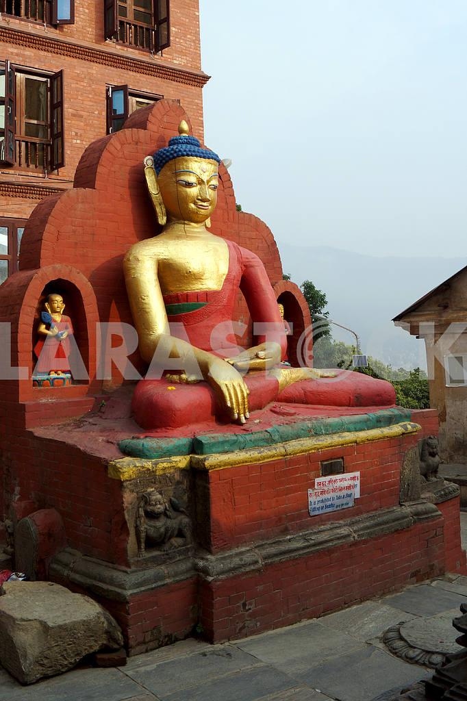 Smiling Gautama Buddha. Nepal, Kathmandu — Image 22688