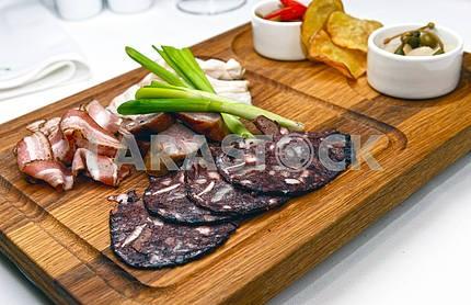 Krovyanka, bacon, smoked ham
