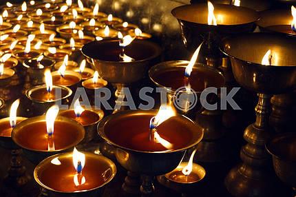 Church candles. Nepal. Katmandu