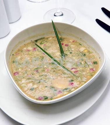 russian cold vegetable soup on yogurt