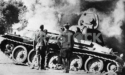 Burning soviet middle tank Т-34
