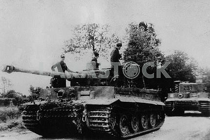 Soldiers riding in the German heavy tank Tigr