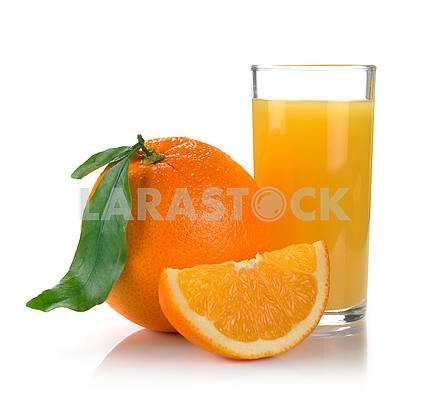 Full glass of fresh orange juice and fruit