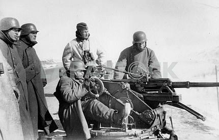 Testing anti-tank gun.