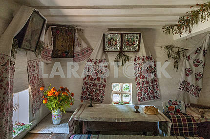 The interior of the hut in which he lived as a child Taras Shevchenko