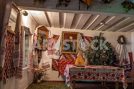 Ukraine. Cherkasy region. Morintsy. The interior of the hut in which he lived as a child Taras Shevchenko