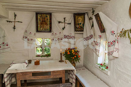 Ukraine. Kanev. The interior of the hut in which he lived as a child Taras Shevchenko