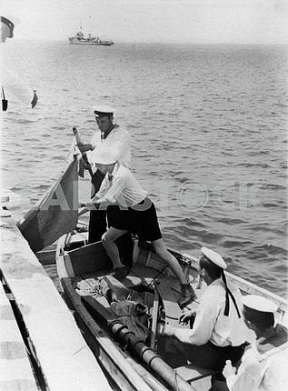 Soviet sailors in the boat