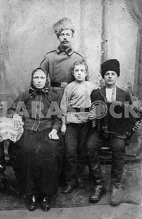 Group portrait of a Cossack with family