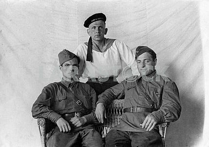 Studio photo of Soviet soldiers