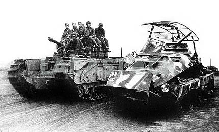 Soviet soldiers with british tank Churchill