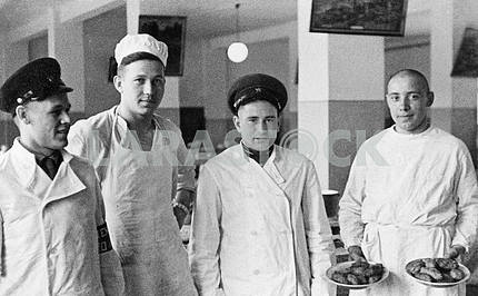 Soviet soldiers in the kitchen.