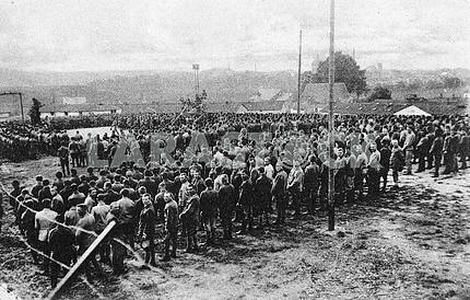 Ukrainian prisoners of war in a concentration camp