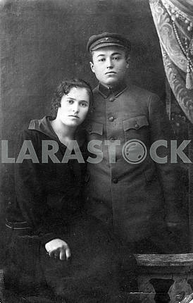 Портрет красноармейца и его жены