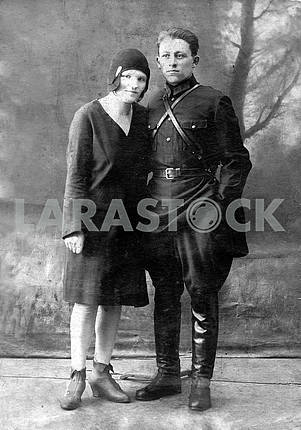 Red army officer with wif