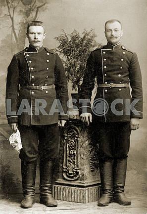 Studio portrait of Russian soldiers