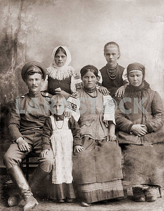 Russian soldier with his family