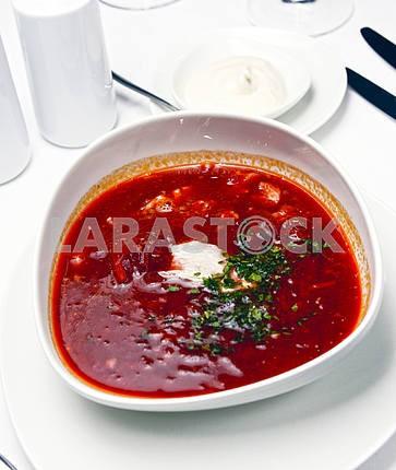 Ukrainian borsch with sour cream (beet soup)