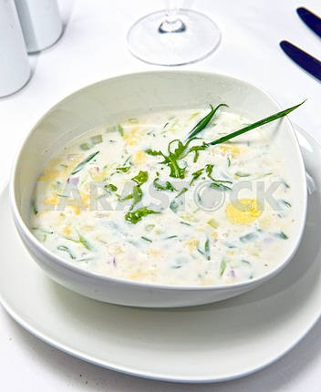 Русский холод овощной суп на йогурте