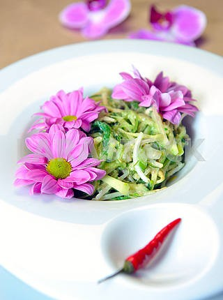 Salad of soy sprouts with algae