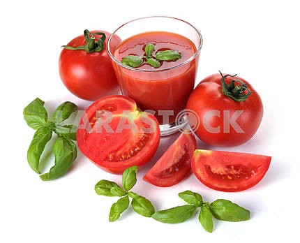 Glass of tomato juice and fruits