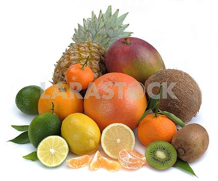 Set of citrus and tropical fruits on white background