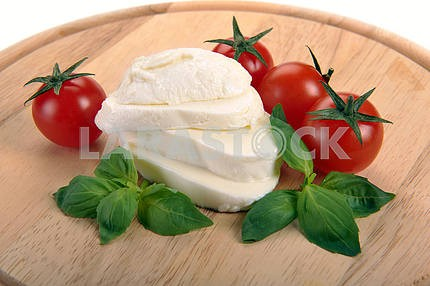 Mozzarella, cherry tomatoes, basil