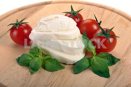 Mozzarella, cherry tomatoes, basil