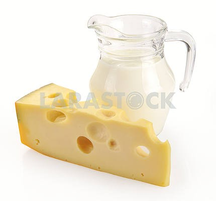 Pitcher of milk and cheese