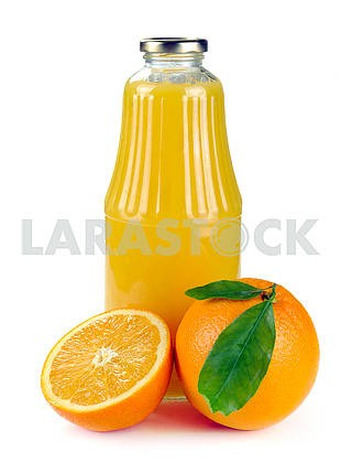 Orange fruit and a bottle of juice