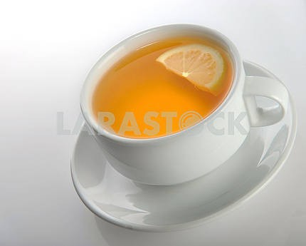 Cup of tea with a lemon