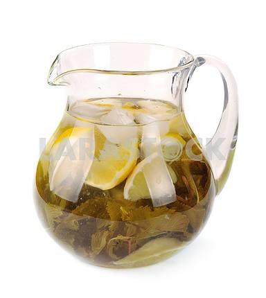 Lemon-mint drink in a pitche