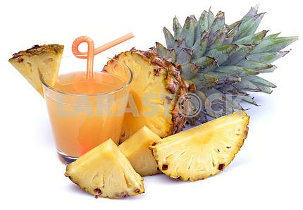 fresh pineapple juice and pineapple fruit