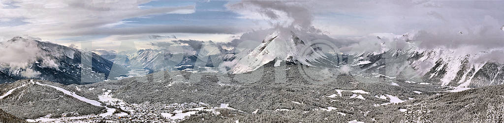 Winter panorama of the Alps mountains