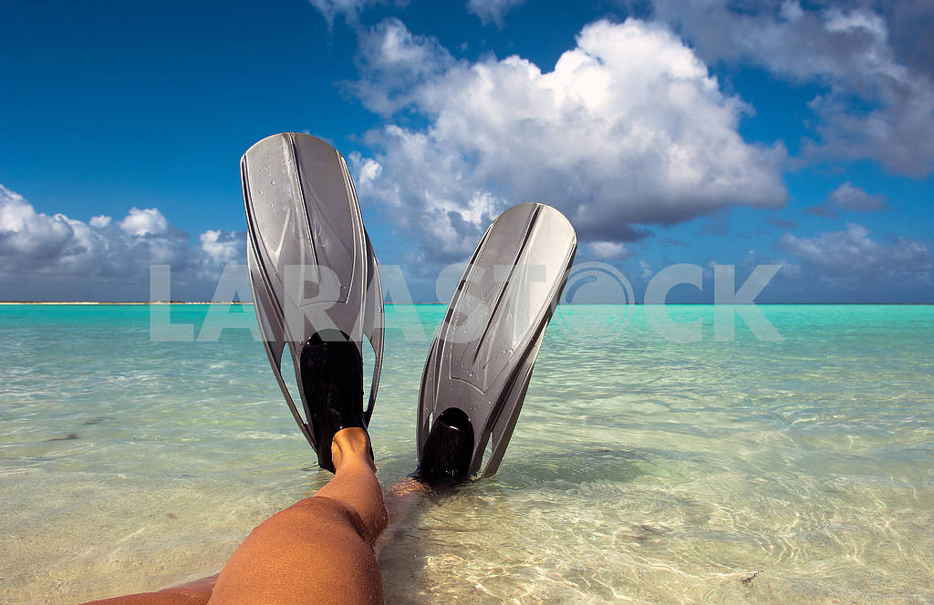 Feet in flippers at the beach — Image 2655