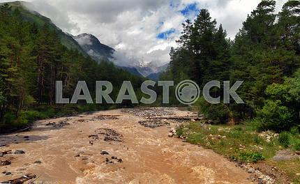 The mountain river Baksan after rains