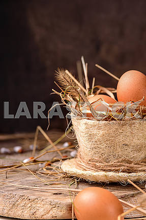 Eggs in a nest of hay and grass