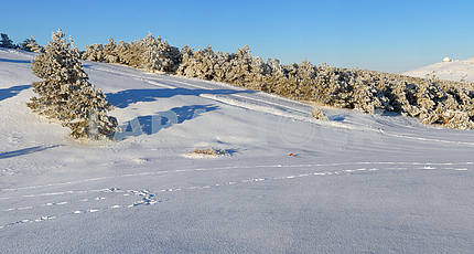Plateau panorama Ah-petri in the winter