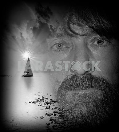 Fedor Konyukhov on the background of yachts