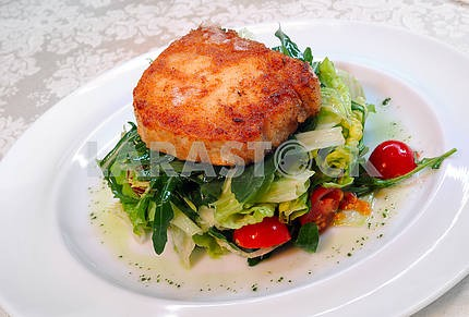 The fried goat cheese with salad