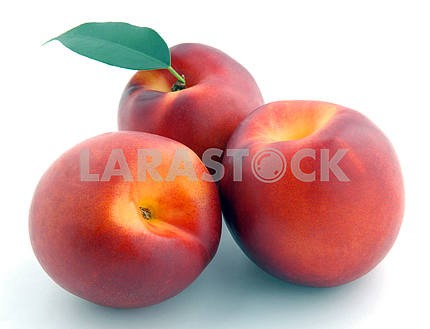 Smooth peach with leaves