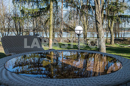 Round table with reflection