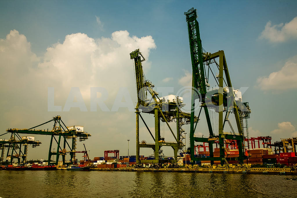Unloading cranes on the bank of the Saigon River. — Image 27902