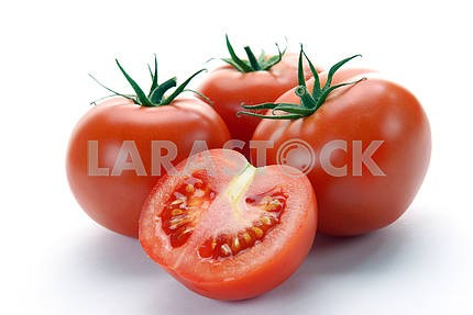 Red tomatoes and half
